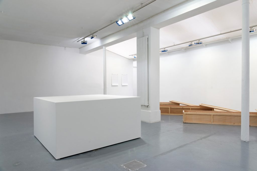 HALF CUBE, 2004, (Base to minimal content), wood, paint, 91 x 182 x 182 cm