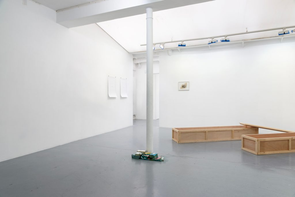 UNSOLD, 2001, books, methylene blue, dimensions variable, BEING HEVEA, 2011, wood, wax, 45 x 230 x 31 cm each box