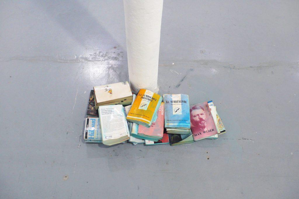 2001, books, methylene blue, dimensions variable