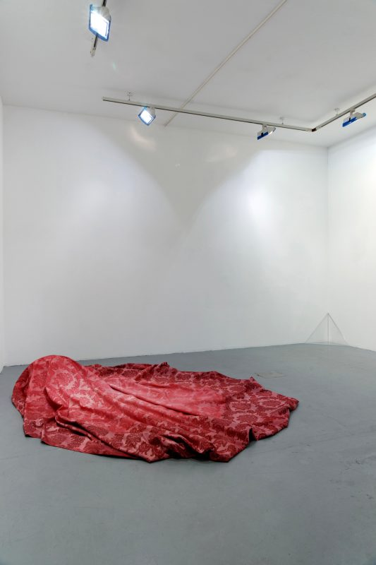 2009, white cotton, red ink, 130 x 170 x 45 cm
