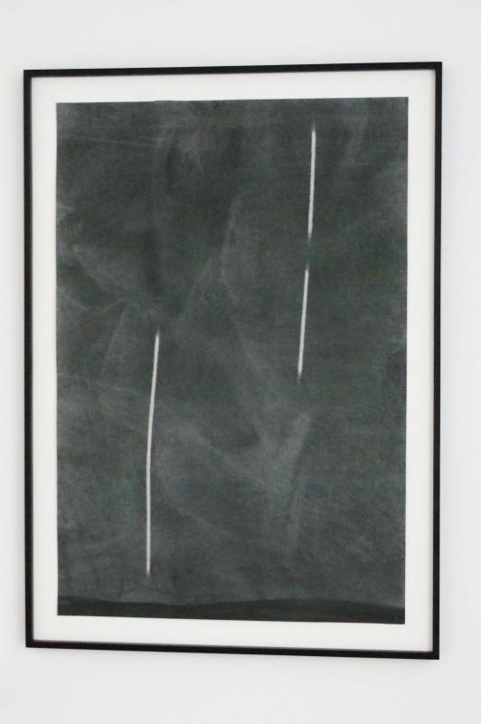 """STUDY FOR """"TWO PROJECTED COLUMNS"""" 2008 graphite sur papier 116 X 79 cm"""