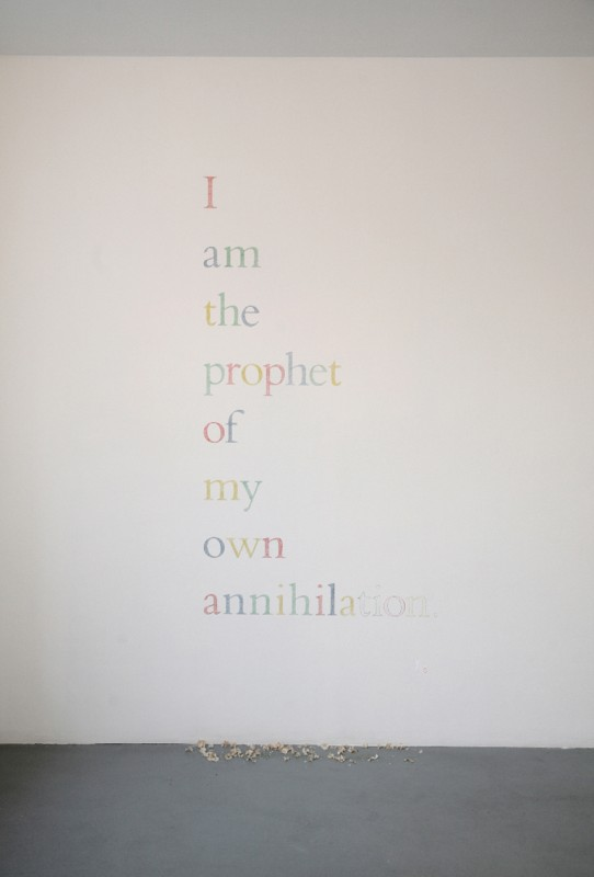 I AM THE PROPHET OF MY OWN ANNIHILATION 2010 text piece dimensions variables