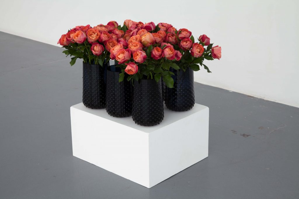 2017, 6 vases and 71 flowers, elements and dimensions variable, unique work in a series