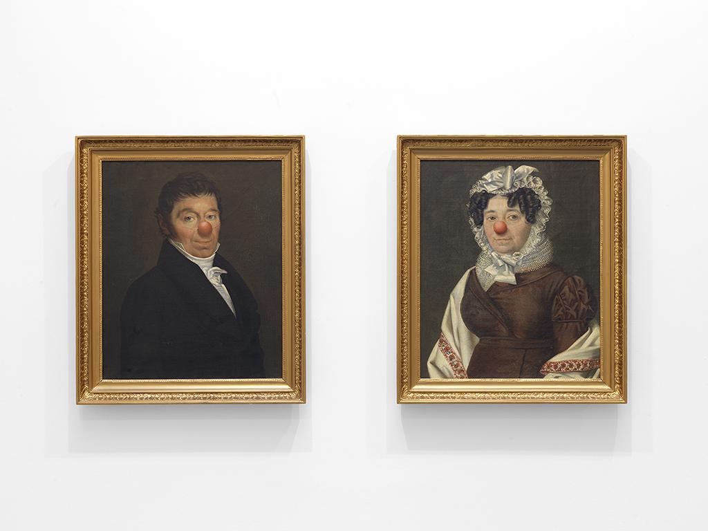 painting on canvas, framed, diptych, 76 x 65 cm each