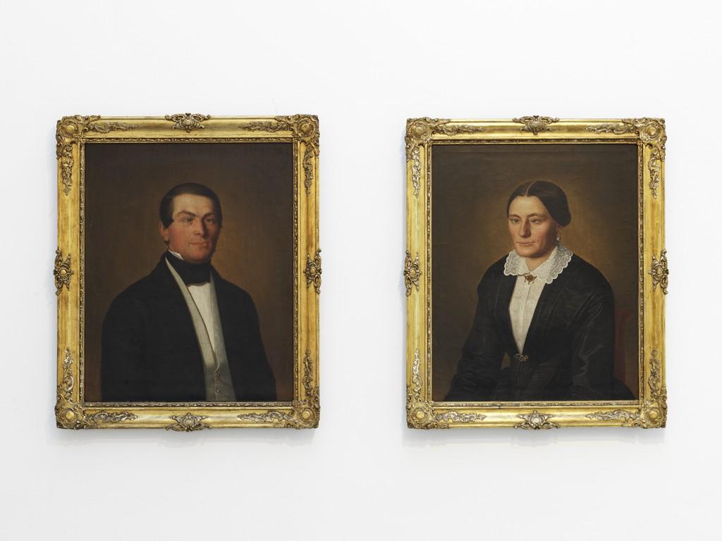 painting on canvas, framed, diptych, 80 x 70 cm each