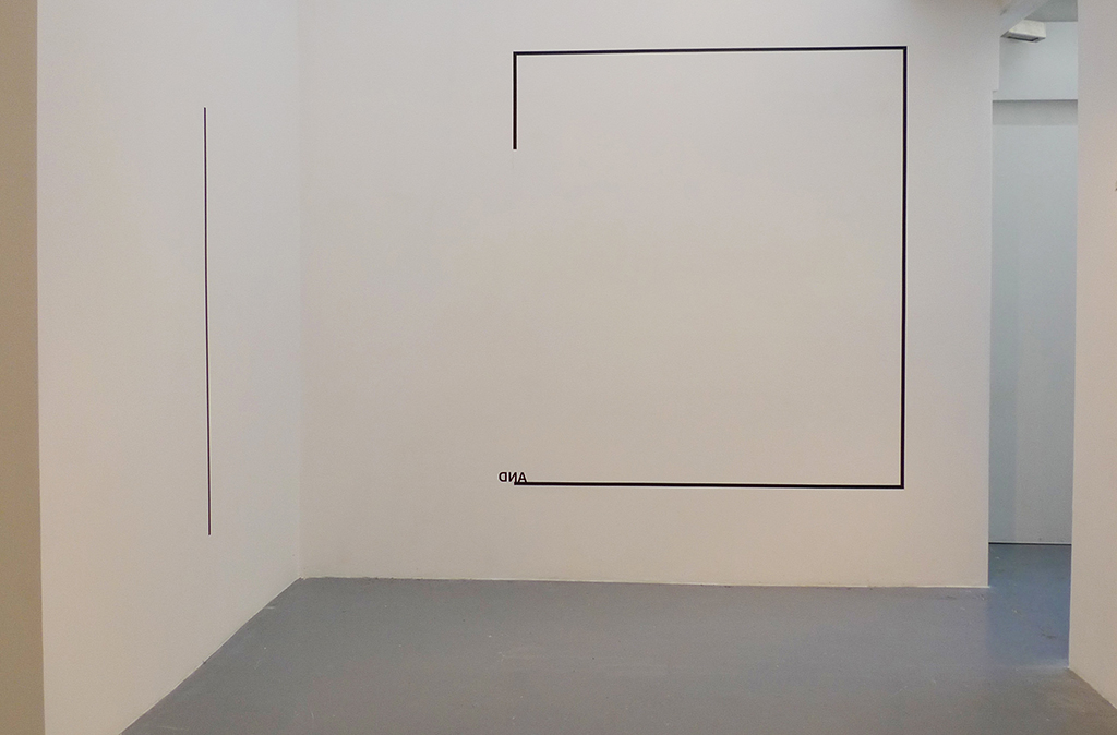 2012, wall piece, adhesive letters, black tape, dimensions variable, unique work