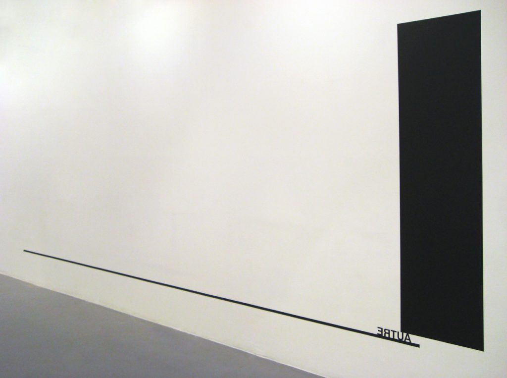2010, wall piece, black paint, black tape, adhesive letters, rectangle: 200 x 50 cm,line: 5m,variable, unique work
