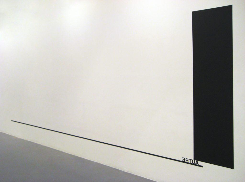 2010, wall piece, black paint, black tape, adhesive letters, rectangle: 200 x 50 cm,line: 5m,variable, unique work