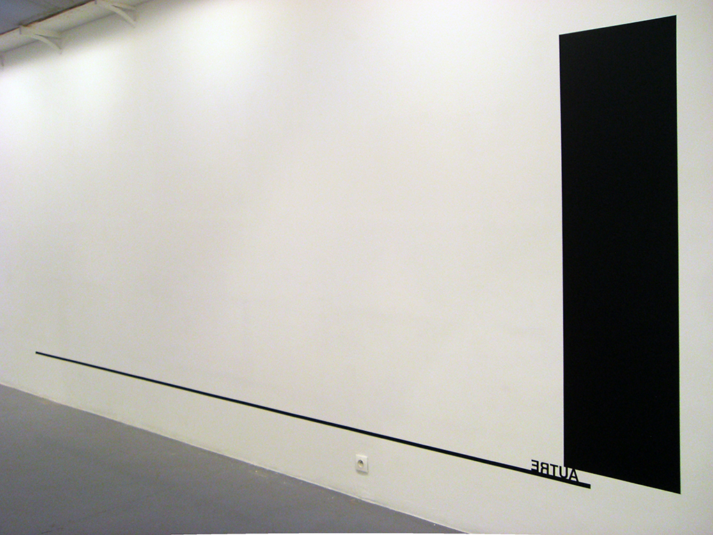 2010, wall piece, black paint, black tape, adhesive letters, dimensions variable, unique work