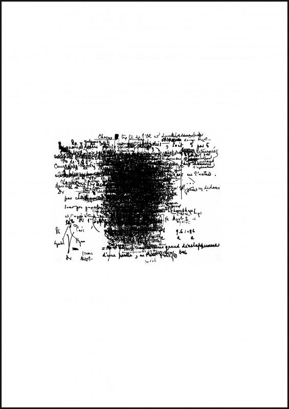 2010, sérigraphie sur papier, 47 x 36 cm chacune, oeuvre unique <br> <br> Ces sérigraphies sont réalisées à partir des feuillets du manuscrit original du Livre de Mallarmé conservé à la Houghton Library (Harvard College Library). Le Livre n'est évidemment pas un livre mais 220 feuillets énigmatiques, des notes plus souvent arithmétiques que poétiques, des schémas, des chiffres, des codes indéchiffrables. Ces notes n'ont jamais été publiées ; elles apparaissent toutefois dans une édition de Jacques Scherrer datée de 1957 qui en fait une interprétation personnelle. A l'inverse de la série des Constellations, ces quatre uniques, numérotés C1 à C4, sont le fruit d'un caviardage d'un nombre aléatoire de feuillets. Les variations du hasard donnent ainsi différentes visions du Livre, plus ou moins denses, plus ou moins complètes.