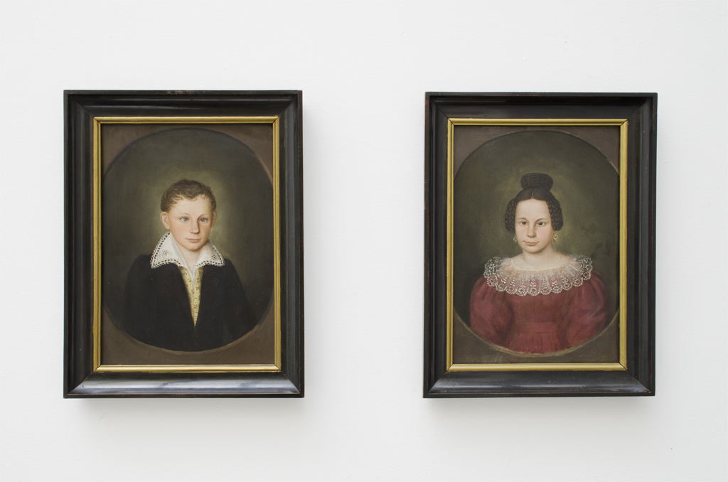 painting on wood, framed, diptych, 41,5 x 32 cm each