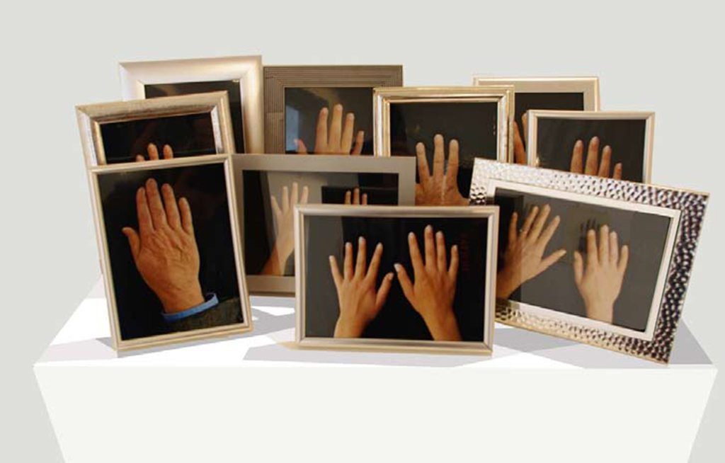 10 color photos, framed, 30 x 80 x 45 cm overall