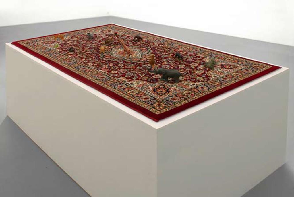 carpet, plastic toys, 6 x 120 x 80 cm