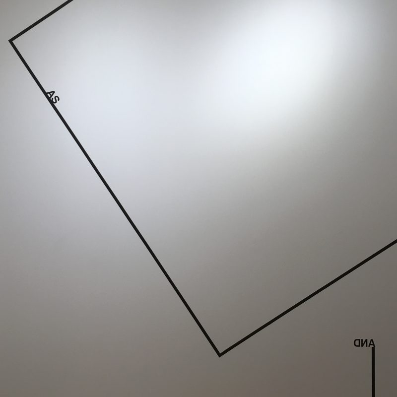 2017, wall piece, black tape and adhesive letters, dimensions variable, unique work