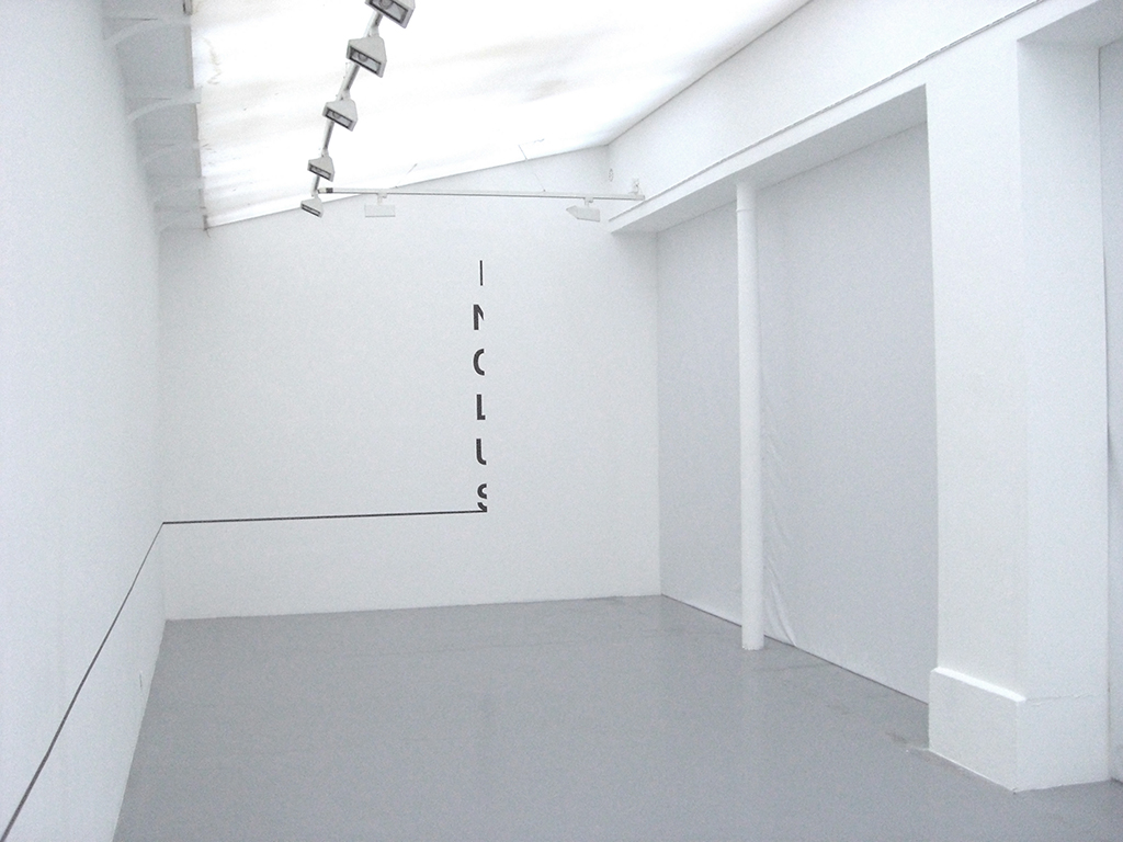 2009, wall piece, metal pipe (painted black), black tape, adhesive letters, rectangle 200 x 50 cm, line 5m, variable, unique work