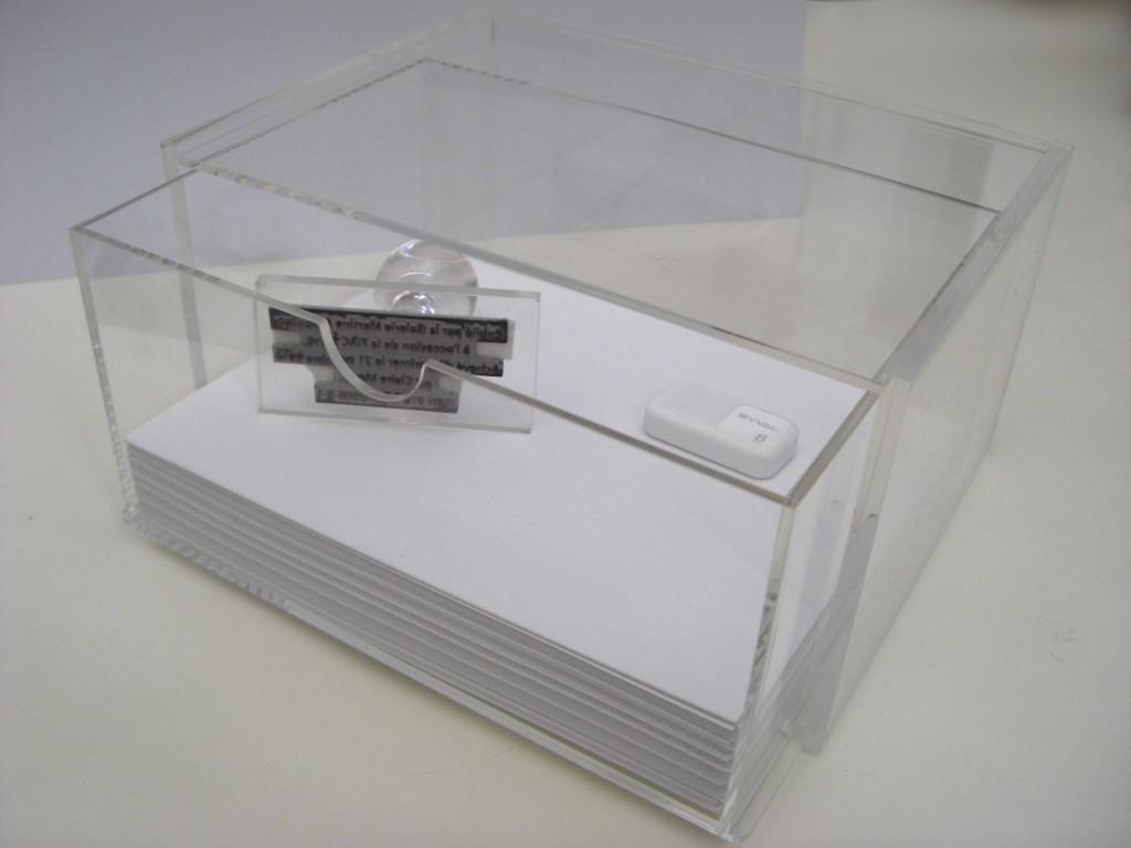 21.10.2012, ISBN 978-2-9540208-9-1, tampon-encreur, édition papier, format et dimensions variables, œuvre unique