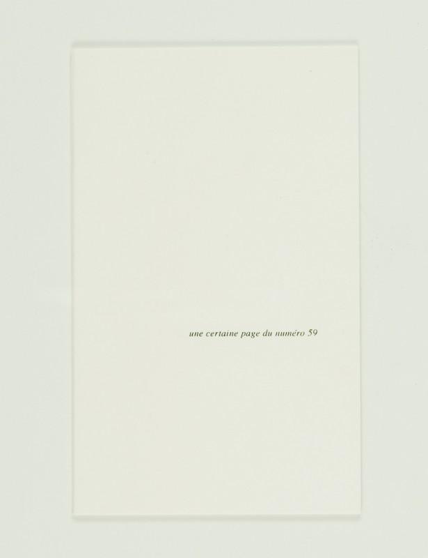 """2009, édition brochée, 10,8 x 17,8 cm, 16 pages imprimées sur papier vélin 90g, couverture sérigraphiée, édition de 80 exemplaires numérotés et signés <br> <br> La bibliothèque de Babel est la réplique d'une nouvelle tirée du recueil intitulé Fictions de Jorge Luis Borges paru aux éditions Gallimard. Tous les élements graphiques et éditoriaux sont repris à l'identique : qualité de papier, mise en page, pagination, typographie. Le texte a été entièrement effacé ne laissant visibles que les notes en bas de page et les chiffres renvoyant à celles-ci. Le contenu, le corps du texte est donc illisible comme le sont les ouvrages de la bibliothèque dont parle Borges dans sa nouvelle. L'ouvrage ne contient aucun texte et tous les textes en même temps, puisque les notes renvoient obligatoirement à un contenu même invisible. La dé- marche de l'artiste fait écho à celle de Borges dans sa recherche """"imaginaire"""" du livre ultime."""