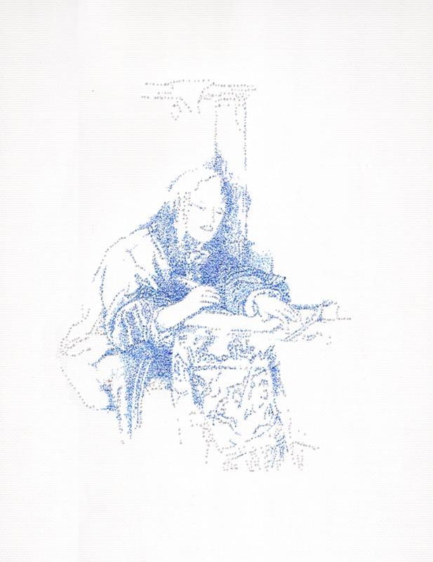 2014, encre sur papier, 30 x 40 cm, encadré, oeuvre unique <br> <br> Cette série reprend des images d'hommes entrain d'écrire. L'artiste utilise une épingle et un stylo indélébile pour créer ces dessins faisant référence à la broderie.
