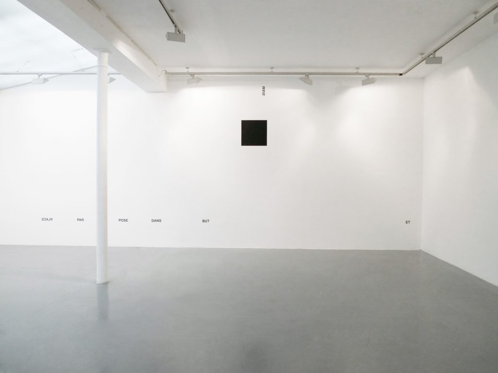 2012, wall piece / black square piece, adhesive letters, black paint, square 50 x50 cm, dimensions variable, unique work