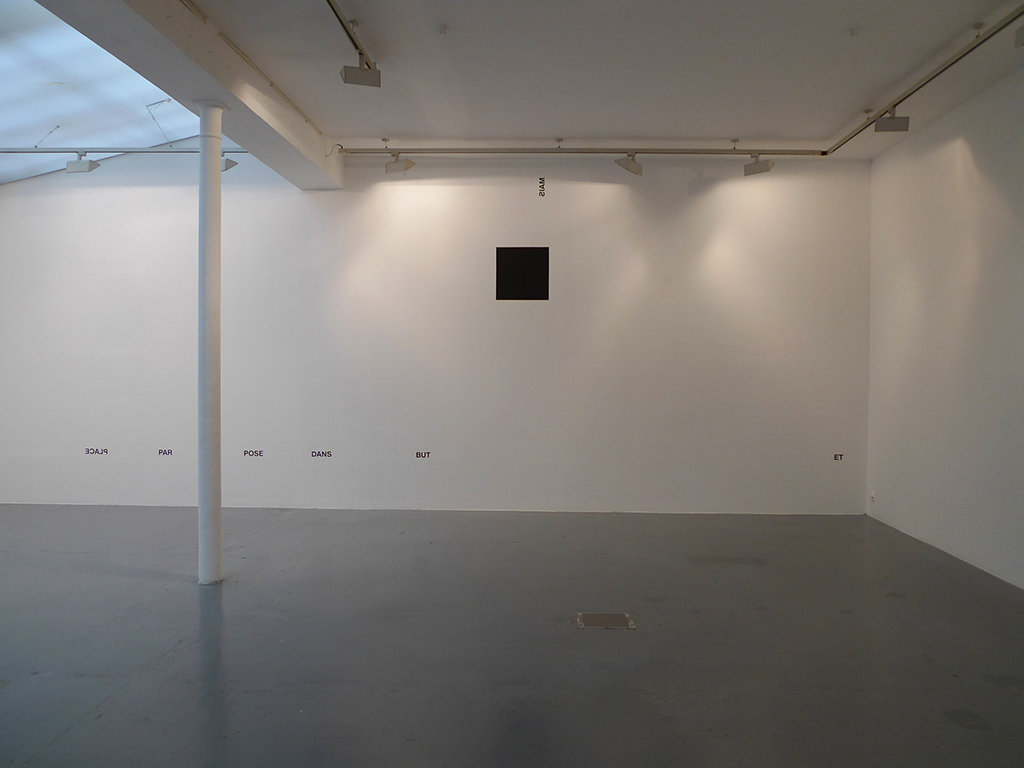 2012, wall piece / black square piece, adhesive letters, black paint, dimensions variable, unique work