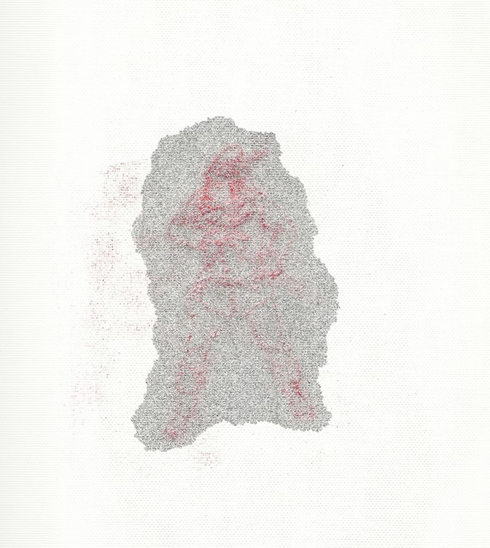 2012, crayon et encre sur papier, 40 x 30 cm, œuvre unique <br> <br> Ce dessin illustre le célèbre conte de Blanche Neige. Il représente le personnage du chasseur qui a pour ordre de tuer Blanche Neige au début du récit.