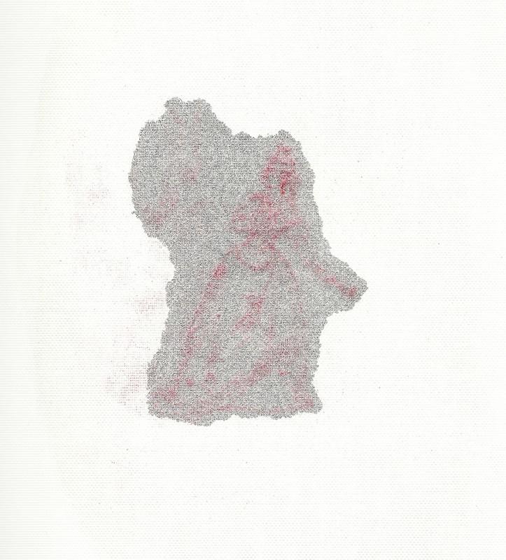2012, crayon et encre sur papier, 40 x 30 cm, œuvre unique <br> <br> Ce dessin est le deuxième de la série qui illustre le conte de Blanche Neige. L'artiste y représente la méchante reine qui se regarde dans son miroir.