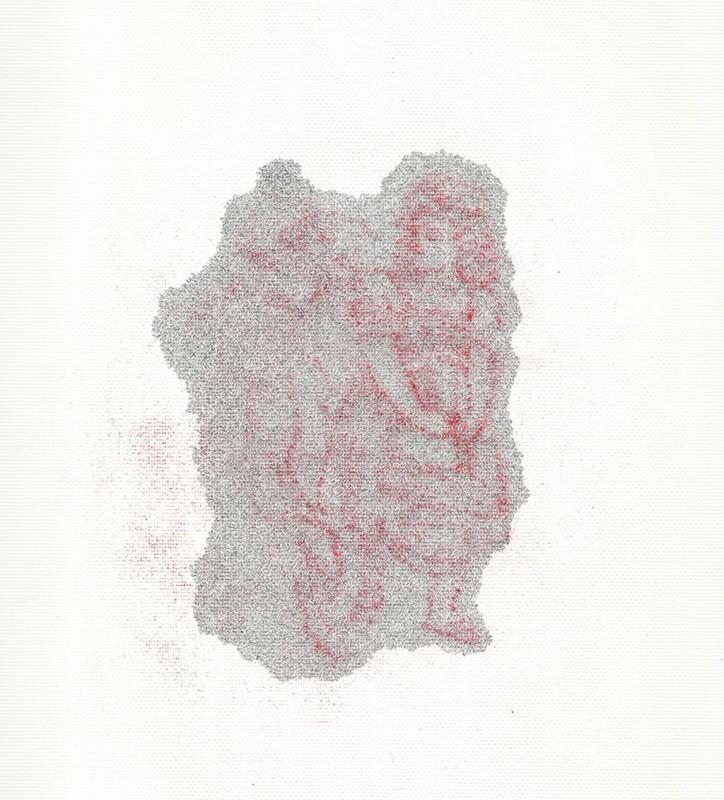2012, crayon et encre sur papier, 40 x 30 cm, œuvre unique <br> <br> Ce dessin illustre la célèbre histoire du Petit Chaperon Rouge. L'artiste se concentre sur le moment où la fillette rencontre le loup dans les bois.