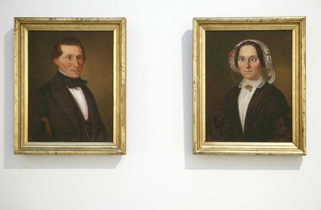 painting on canvas, framed, diptych, 39 x 31 cm each