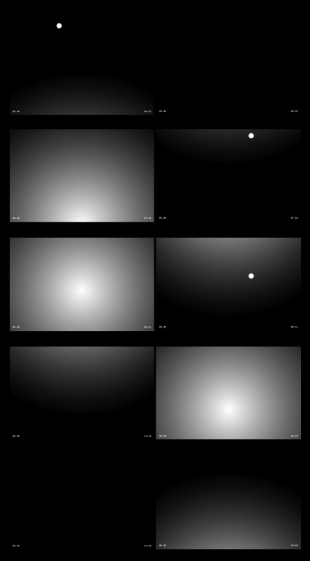 2012, animation (double projection), digital file, B/W, sound, 366 minutes in loop, edition of 2