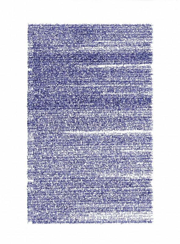2012, dessin sur papier carbone (bleu), 40 x 30 cm, œuvre unique