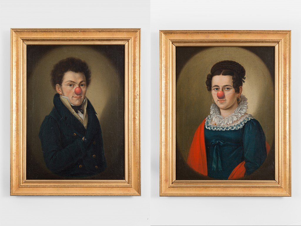 painting on canvas, framed, diptych, 47 x 37 cm each
