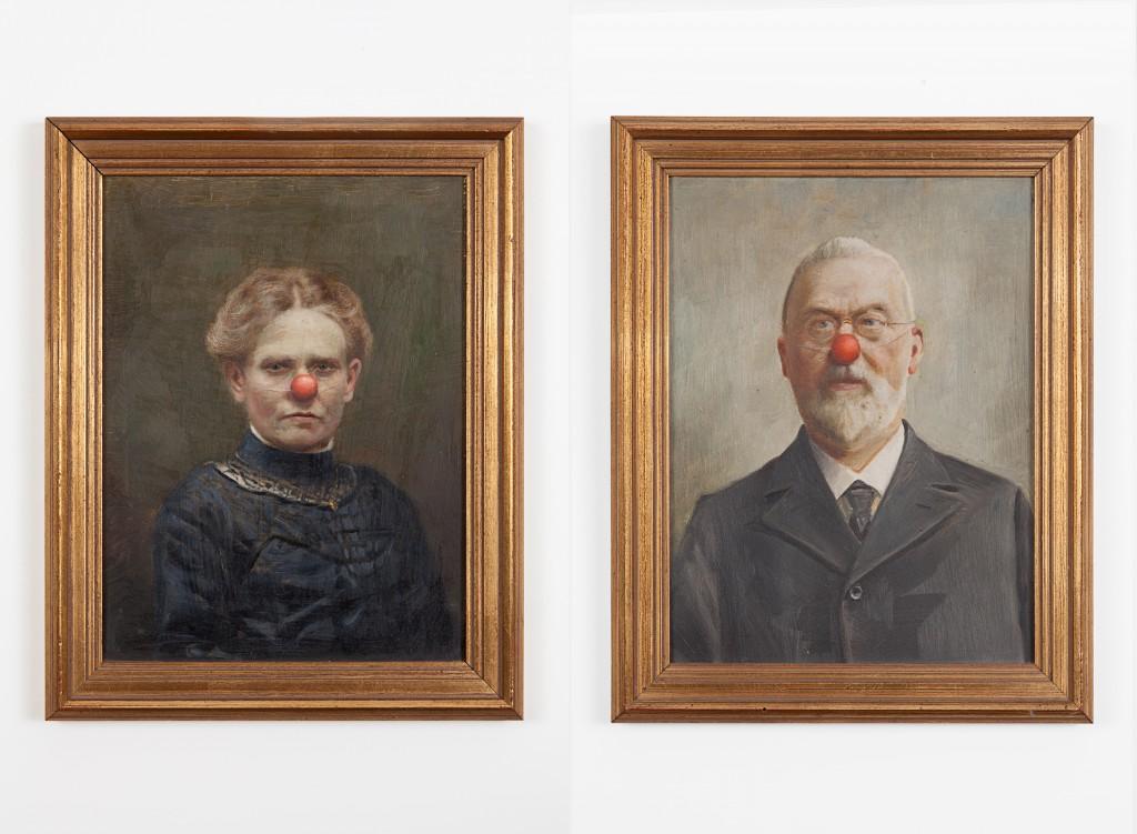 painting on canvas, framed, diptych, 30,5 x 25 cm each
