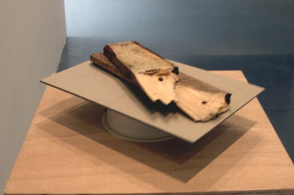 wood, cardboard, motor, 30 x 21 x 7 cm