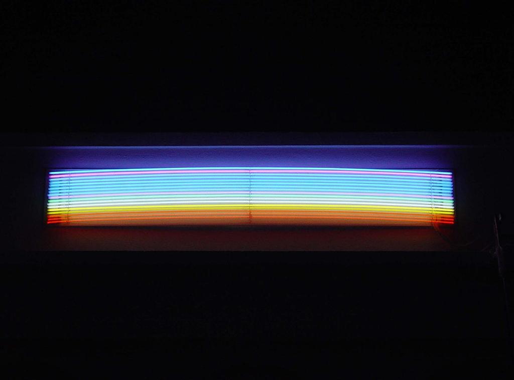 2005 néon composé de dix sept couleurs diamètre des tubes 14mm 50 x 300cm oeuvre unique