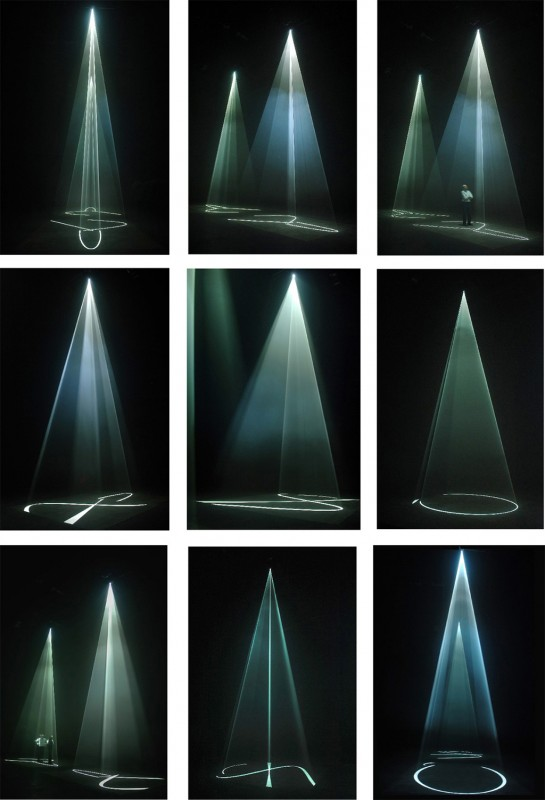2006, installation (vertical, double), computer, computer script, two video projectors, two haze machines, one cycle of 32 minutes in two parts, edition of 3 plus 1 AP <br> <br> The second two projector, vertical installation, based on a similar syntax to « You and I », but with the rates-of-change and speeds-of-motion significantly changed. First shown at Peer/The Round Chapel, London, March-April 2006.