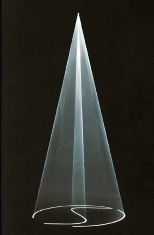 2004, installation (vertical, single), computer, computer script, video projector, haze machine, one cycle of 6 minutes, edition of 5 plus 1 AP <br> <br> A vertical (standing) cone with flattened sides which expand and contract, the form is bisected internally by travelling wave forming valve like apertures that slowly open and close.