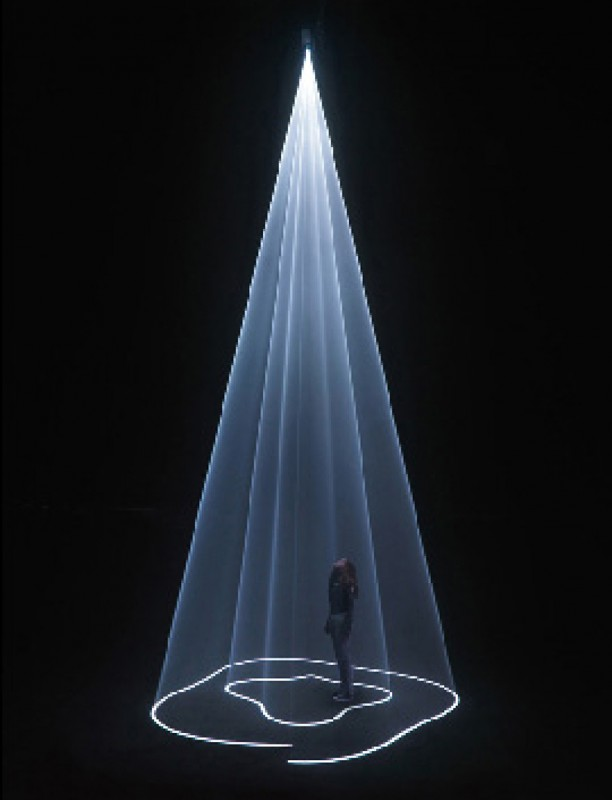 2009, installation (vertical, single), computer, computer script, video projector, haze machine, one cycle of 15 minutes 44 seconds in two parts, edition of 5