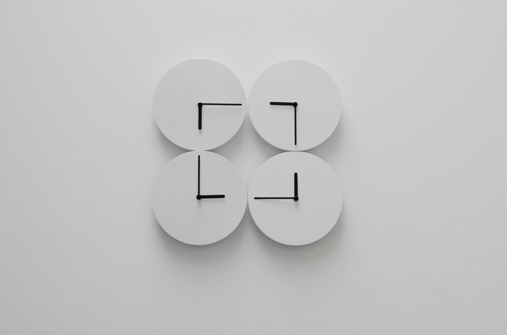 2014, 4 clocks, dimensions variable, unique work in a series