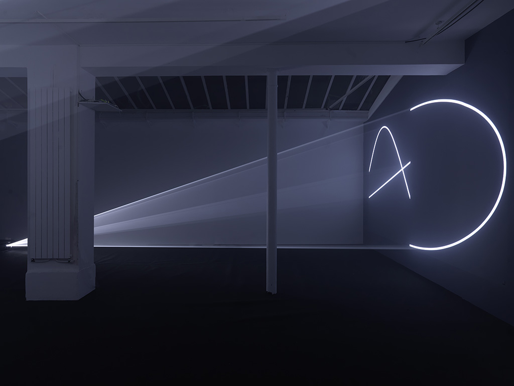 2013, installation (horizontal, double), computer, Quicktime Movie file, two video projectors, two haze machines, one cycle of 24 minutes in two parts, edition of 3