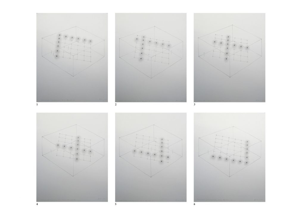 2012, set of six pencil drawings on paper, 35,4 x 27,9 cm each, unique work