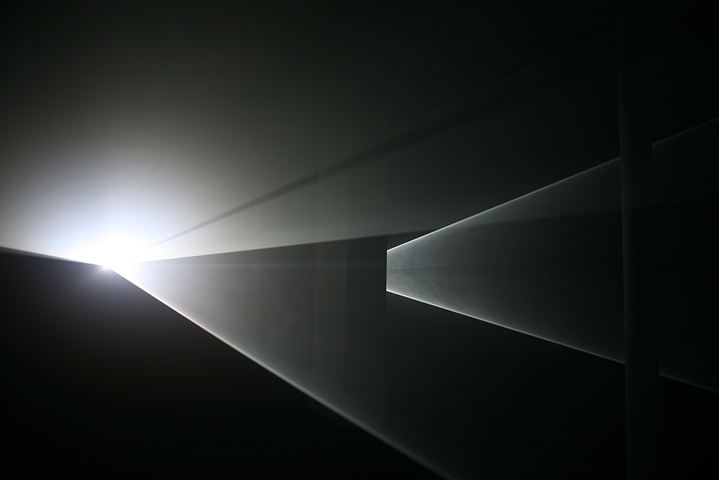 2007, installation (horizontal, double), computer, Quicktime movie file, two video projectors, two haze machines, one cycle of 30 minutes in two parts, edition of 3 plus 1 AP
