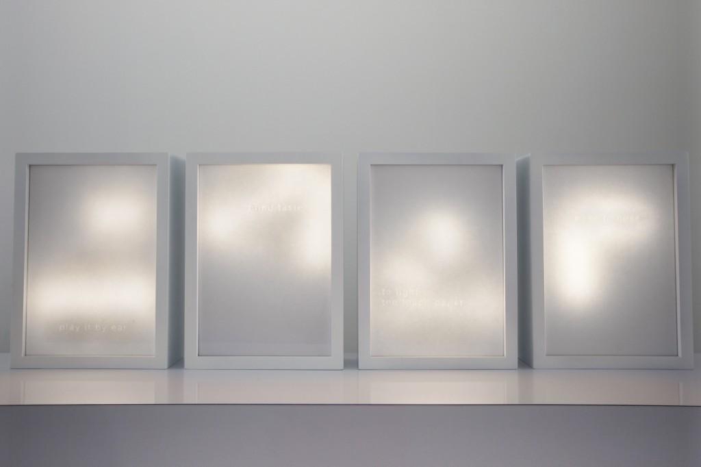 IDEASTHESIA 2015 papier A4, huile, leds, cadre 32,7 x 23,8 x 8,5 cm chacun œuvre unique