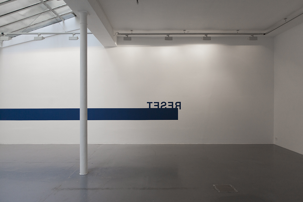 2015, wall piece, blue paint, dimensions variable, unique work