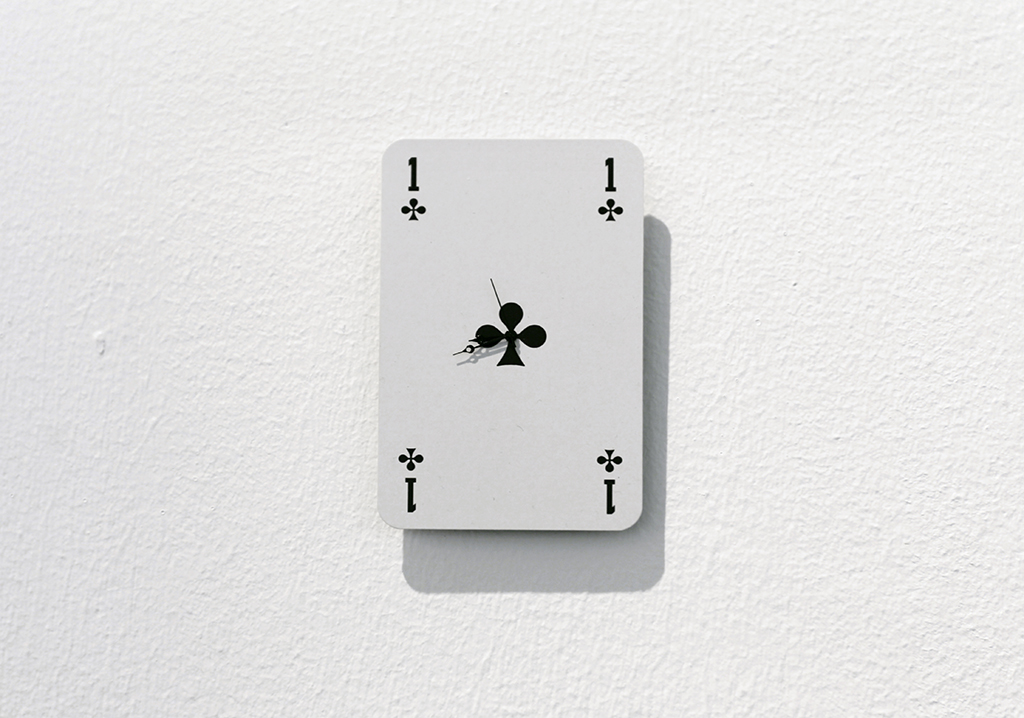 UNTITLED 2015 watch movement and playing card 8 x 5.5 cm unique work in a series