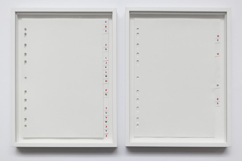 2015, diptyque, intercalaires alphabétiques, 29,7 x 22 cm chaque, œuvre unique