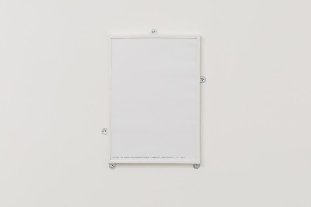 2014, impression laser, monochrome sur papier A4, cadre pvc, attaches métalliques, vis, 36 x 24 cm, œuvre unique dans une série
