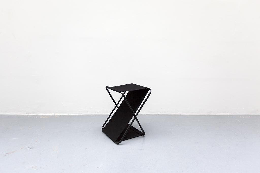 LIGNE DE MIRE #7 2015 black textile and metal 50 x 40 x 35 cm unique work in a serie