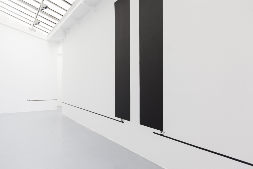 2015, wall piece, black paint, adhesive letters, black tape, dimensions variable, unique work