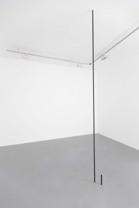 2014, room piece, two metal pipes, painted black, one free-standing, 17cm, one hanging from ceiling to floor (ceiling height), 12,5 cm distance, unique work