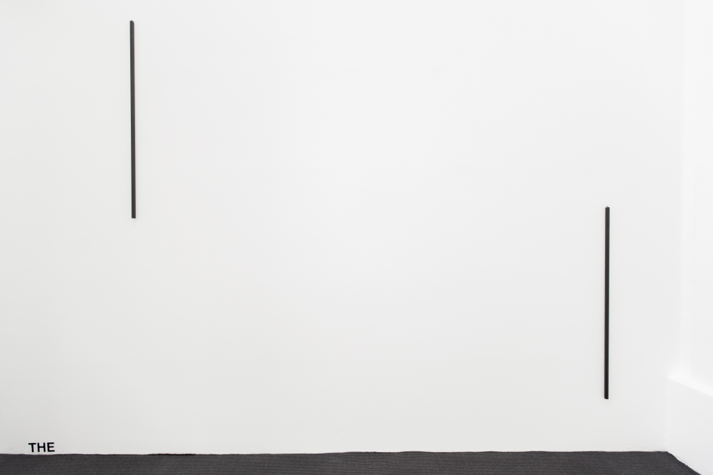 2015, wall piece, two metal pipes and adhesive letters, dimensions variable, unique work